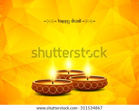 Yellow color vector card design for Diwali festival with beautiful lamps.  - stock vector