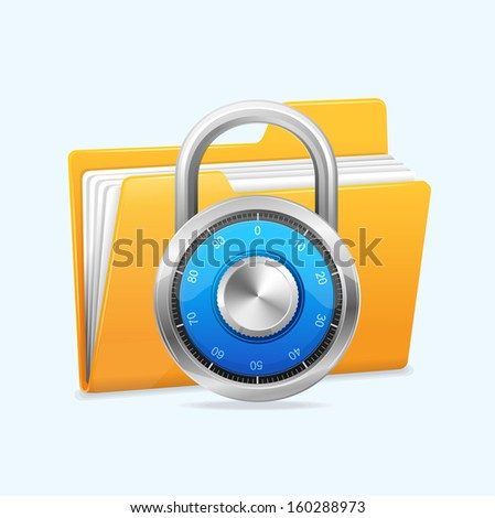 Yellow computer folder and combination lock. Data security concept. - stock vector