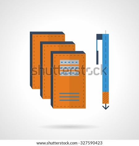 Yellow copybooks and blue pen. Items for writing. Flat color vector icon. Design elements for site, business or mobile. - stock vector