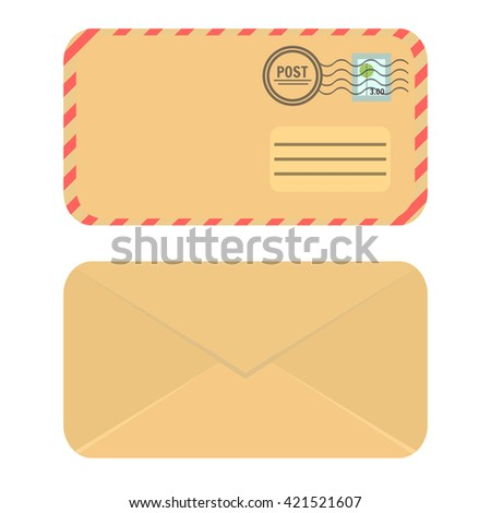 Yellow craft paper closed envelope. Icon Envelope. Front and rear view. Flat elvelope illustration.  - stock vector