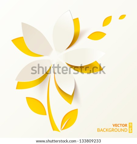 Yellow cutout paper flower vector greeting card - stock vector