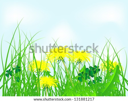 Yellow dandelions in grass against blue sky - stock vector