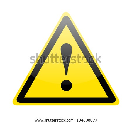 Yellow danger warning sign on white - stock vector