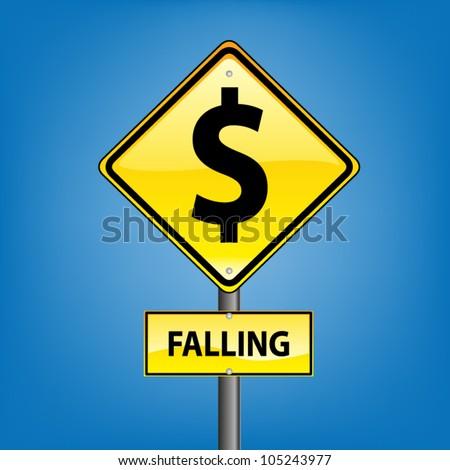 Yellow diamond hazard warning sign against blue sky - Danger Falling Currencies US Dollar indication, vector version - stock vector