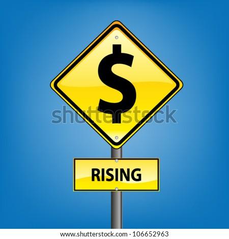 Yellow diamond hazard warning sign against blue sky - Dollar rising indication, vector version - stock vector