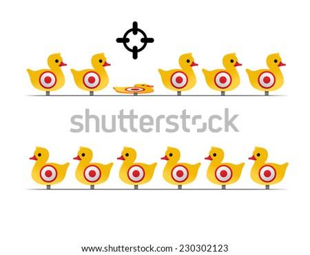 yellow duck targets - stock vector