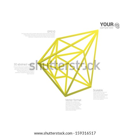 Yellow edition of a 3d abstract minimal edgy pointy lattice network composition, scalable eps10 vector background for infographics, for webdesign, print or for universal use - stock vector