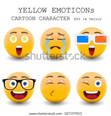 Yellow emoticon cartoon character eps 10 vector - stock vector
