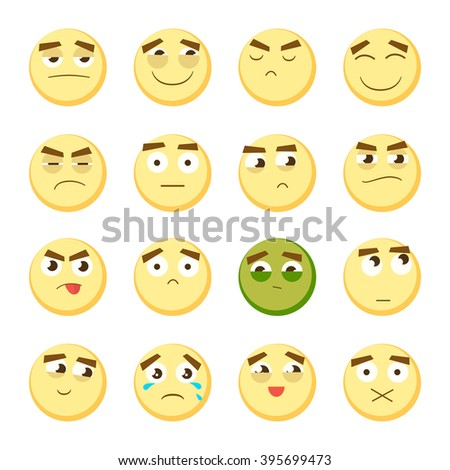 Yellow emoticon set. Collection of Emoji. 3d emoticons. Smiley face icons isolated on white background. Vector eps10 - stock vector