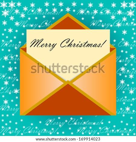 Yellow Envelope letter Merry Christmas white card, Vector illustration - stock vector