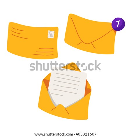 Yellow envelope with counter notification. Vector illustration isolated on white background - stock vector