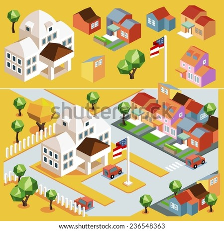 Yellow environment isometric. vector illustration - stock vector