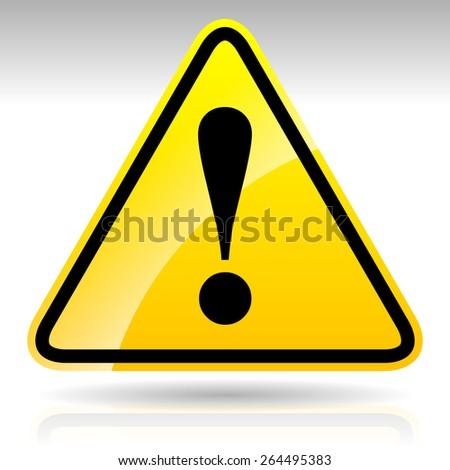 Yellow Exclamation Mark Sign - Caution, Warning Attention Sign - stock vector