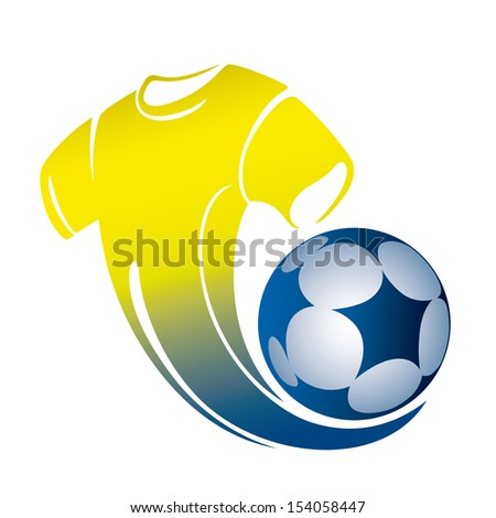 Yellow fans' T-shirt with a soccer Ball on a white background, vector illustrations - stock vector