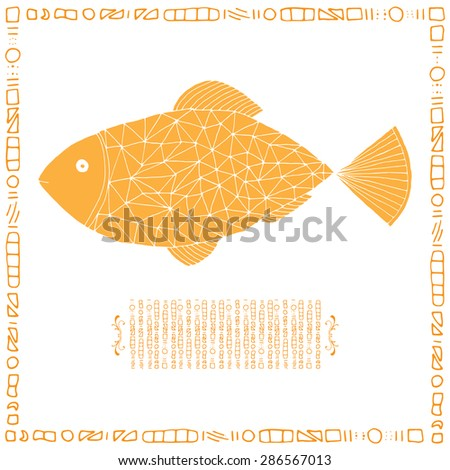 Yellow fish on simple white background with frame - stock vector