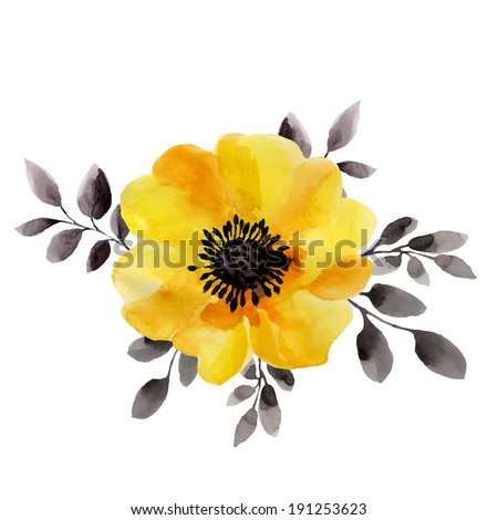 yellow flower, watercolor painting - stock vector