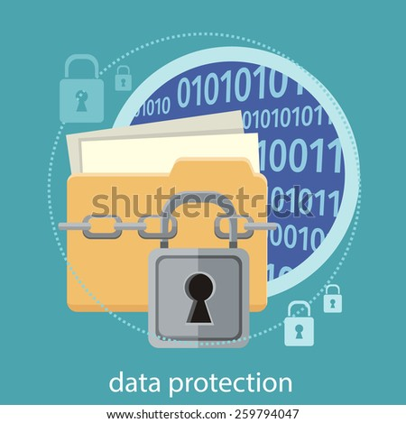 Yellow folder and lock. Data security concept. Data protection and safe work. Concept in flat design style. Can be used for web banners, marketing and promotional materials, presentation templates - stock vector