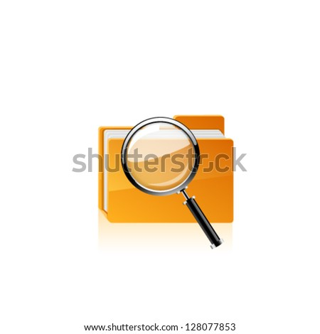 Yellow folder icon and magnifying glass. Vector - stock vector