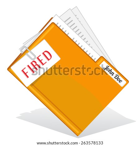 Yellow folder with clipped paper note about firing  - stock vector