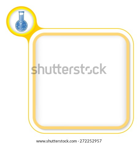 Yellow frame for your text and test tube - stock vector