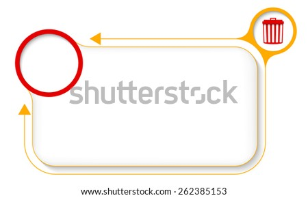 Yellow frame for your text with trashcan and arrow - stock vector