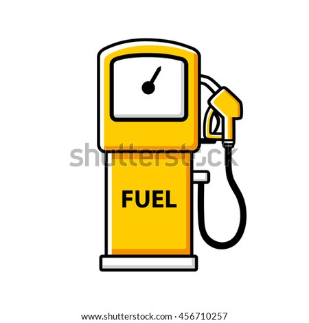 Yellow gasoline fuel pump icon isolated. - stock vector