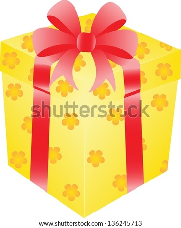 Yellow gift box with red ribbon - stock vector
