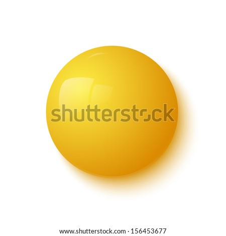 Yellow glossy button. Vector illustration - stock vector