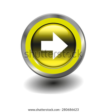 Yellow glossy button with metallic elements and white icon arrow right, vector design for website - stock vector