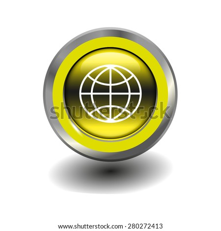 Yellow glossy button with metallic elements and white icon globe, vector design for website - stock vector