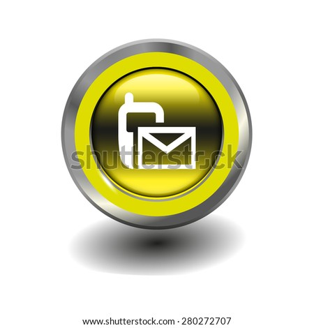 Yellow glossy button with metallic elements and white icon sms (mms), vector design for website - stock vector