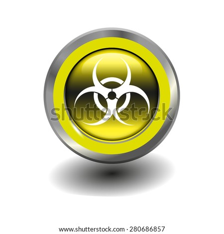 Yellow glossy button with metallic elements and white icon virus, vector design for website - stock vector