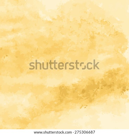 yellow gold watercolor texture background, hand painted vector illustration - stock vector