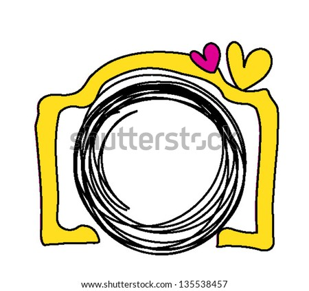 yellow hand drawn digital doodle camera with two love heart - stock vector