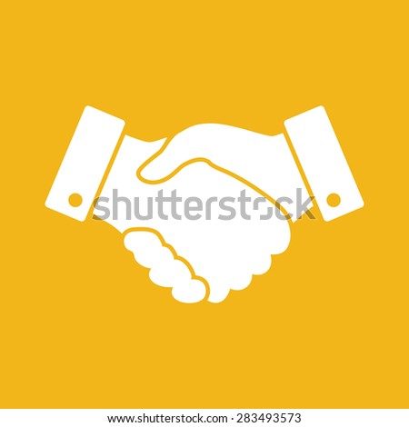 yellow handshake vector icon. design for business and finance concept - stock vector