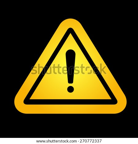 Yellow hazard warning attention sign on black background. Vector illustration. - stock vector
