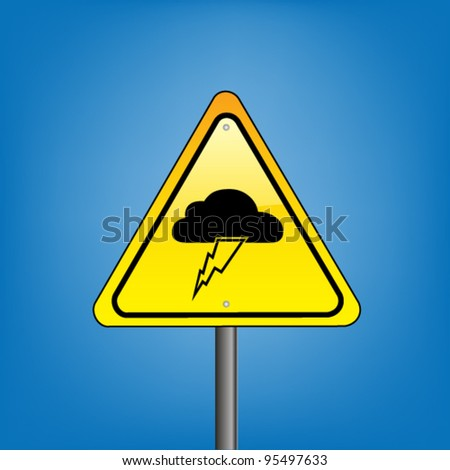 Yellow hazard warning sign  against blue sky - rain lightning warning, vector version - stock vector