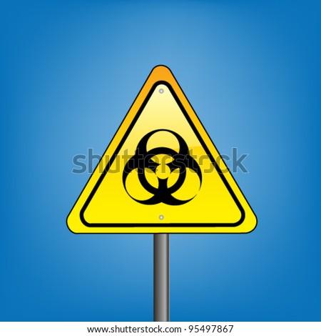 Yellow hazard warning sign on against blue sky - biohazard symbol sign warning, vector version - stock vector