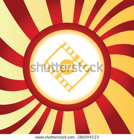 Yellow icon with film strip with text 3D, in the middle of abstract background - stock vector