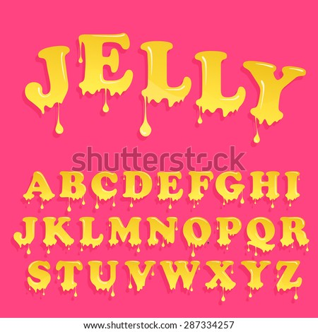 Yellow jelly alphabet. Glossy letterhead design. Vector honey letters - stock vector