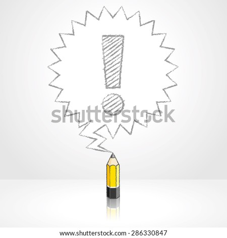 Yellow Lead Pencil with Reflection Drawing Exclamation Mark in Pointed Starburst Speech Bubble on Pale Grey Background - stock vector