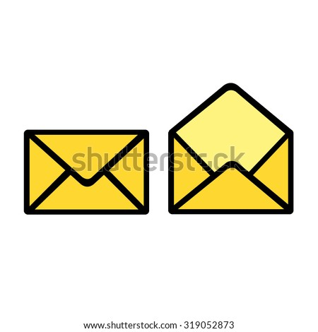 yellow letter icon vector - stock vector