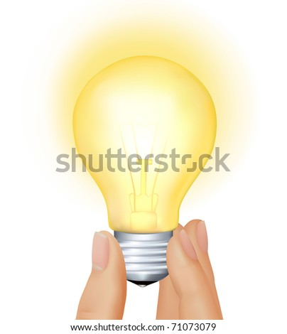 Yellow light bulb in hand. Business concept. Vector illustration - stock vector