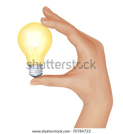 Yellow light bulb in hand. vector illustration - stock vector