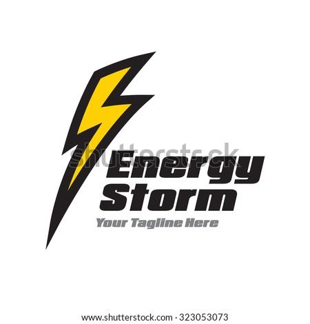 Yellow lightning Logo - stock vector