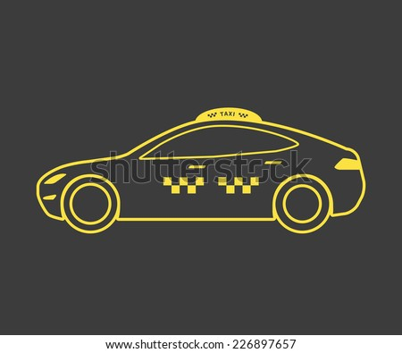 Yellow lined taxi icon of hatchback car. Line thickness fully editable - stock vector