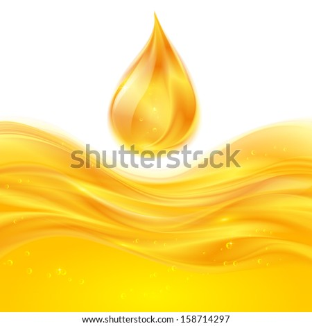 Yellow liquid oil vector falling drop - stock vector