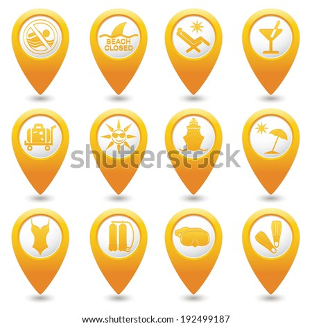 Yellow map pointers with travel icons. Part 3. Vector illustration. - stock vector