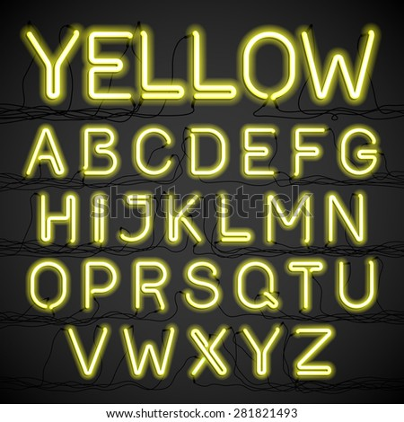 Yellow neon light alphabet with cable. Vector. - stock vector