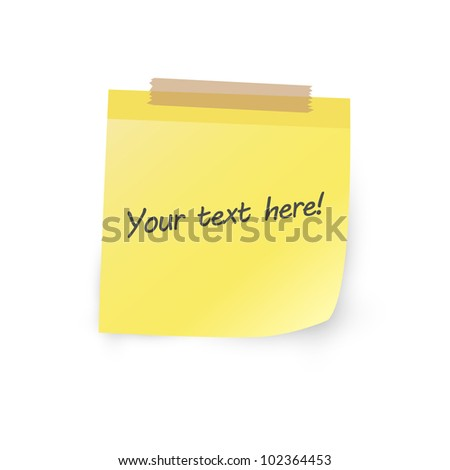 Yellow note paper - stock vector